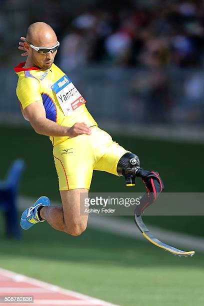 Atsushi Yamamoto of Japan competes in the mens long jump during the IPC Athletics Grand Prix on February 6 2016 in Canberra Australia