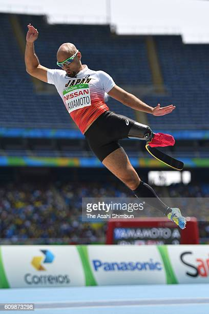 Atsushi Yamamoto of Japan competes in the Men's Long Jump T42 Final on day 10 of the Rio 2016 Paralympic Games at the Olympic Stadium on September 17...