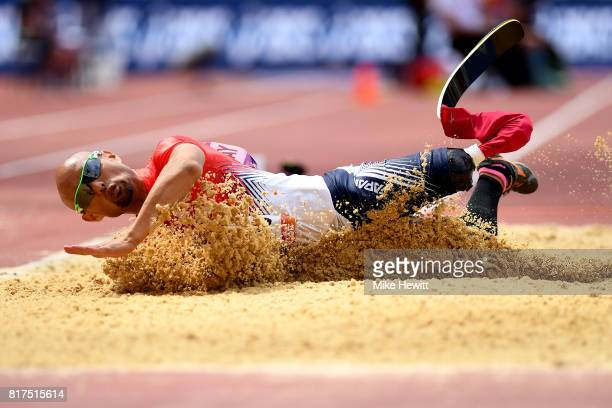 Atsushi Yamamoto of Japan competes in the Men's Long Jump T42 Final during day five of the IPC World ParaAthletics Championships 2017 at the London...