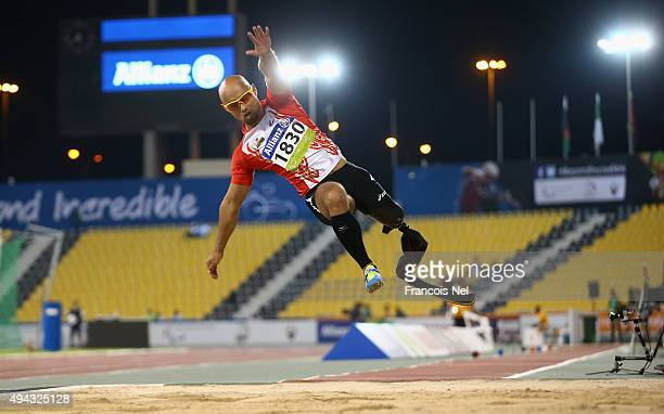 Atsushi Yamamoto of Japan competes on his way to winning the men's long jump T42 final during the Evening Session on Day Five of the IPC Athletics...