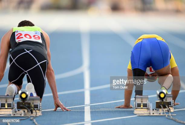 Atsushi Yamamoto of Japan prior to his 100m Men's final race during the 9th Fazza International IPC Athletics Grand Prix Competition World Para...