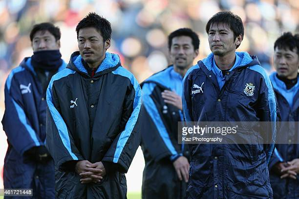 Atsushi Yanagisawa and Koji Nakata look on after the Daisuke Oku Memorial Match between J Amigos and Yokohama Friends at Yamaha Stadium on January 18...