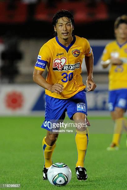 Atsushi Yanagisawa of Vegalta Sendai in action during the JLeague match between Kashima Antlers and Vegalta Sendai at Kashima Soccer Stadium on July...