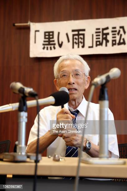 Atsutaka Hiroshima, chief lawyer fo the plaintiffs speaks during a press conference following the ruling by the Hiroshima District Court on July 29,...