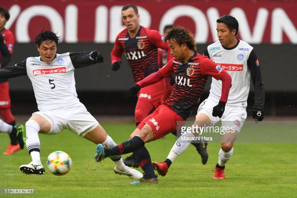 Atsutaka Nakamura of Kashima Antlers scores the first goal during the preseason friendly match between Kashima Antlers and Mito HollyHock at Kashima...