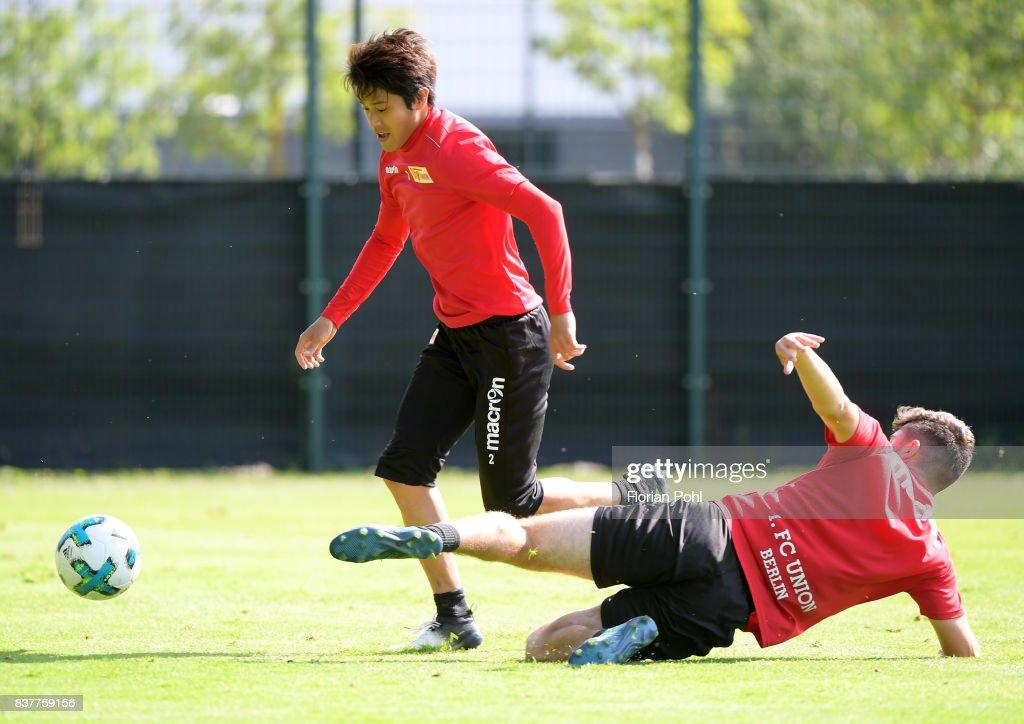 Atsuto Uchida and Berkan Taz of 1 FC Union Berlin during the Trainnigs on august 23, 2017 in Berlin, Germany.