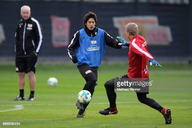 Atsuto Uchida and Jakob Busk of Union Berlin during the 1 FC Union Berlin training on December 6 2017 in Berlin Germany