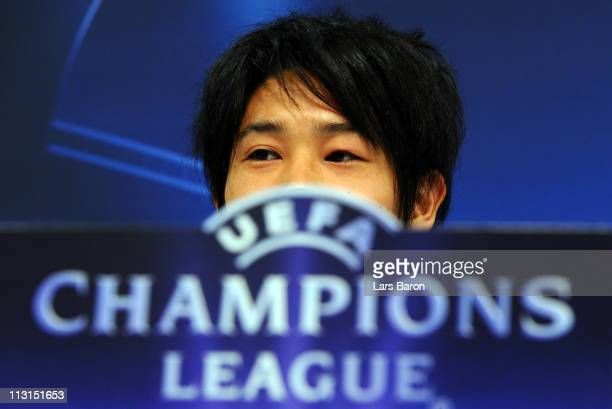 Atsuto Uchida looks on during a FC Schalke 04 press conference ahead of the UEFA Champions League semifinal first leg match against Manchester United...