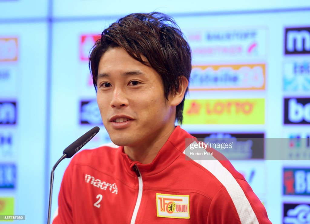 Atsuto Uchida of 1.FC Union Berlin speaks during the presentation on august 23, 2017 in Berlin, Germany.