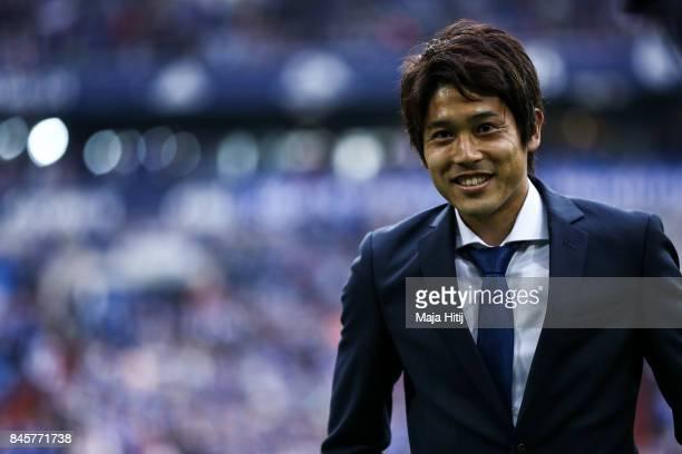 Atsuto Uchida of Japan during goodbye ceremony prior the Bundesliga match between FC Schalke 04 and VfB Stuttgart at VeltinsArena on September 10...