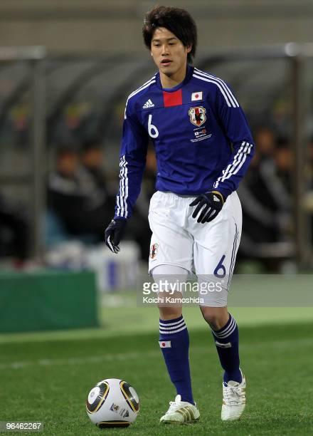 Atsuto Uchida of Japan in action during the East Asian Football Championship 2010 match between Japan and China at Ajinomoto Stadium on February 6...
