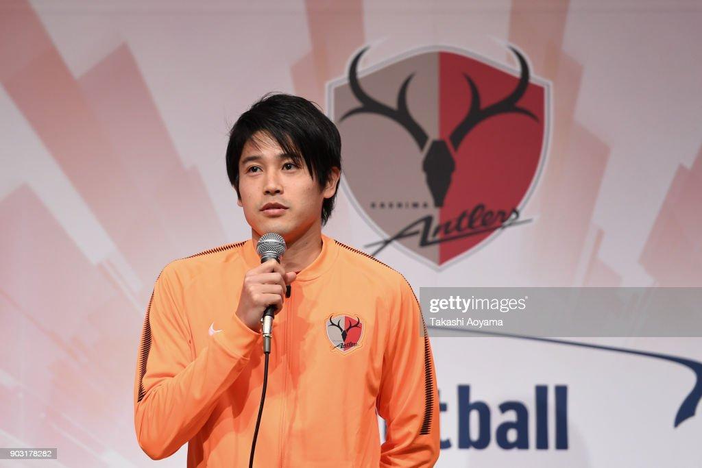 Atsuto Uchida of Kashima Antlers speaks to the media during a Kashima Antlers press conference ahead of the new season on January 10, 2018 in Kashima, Ibaraki, Japan.