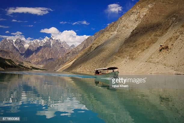 atta abad lake hunza - hunza valley stock pictures, royalty-free photos & images