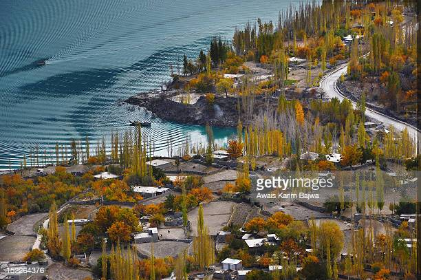 atta abad lake - hunza valley stock pictures, royalty-free photos & images