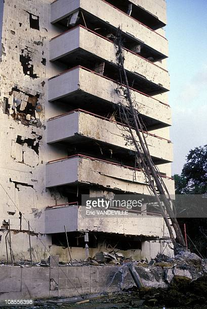 Attack against the building of the godfather of the Medellin Cartel Pablo Escobar in Colombia in February 1988