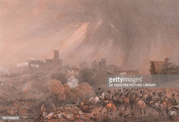 Attack by the French at Cavriana Lombardy Second War of Independence lithograph by Carlo Perrin from the drawing by Carlo Bossoli 22x15 cm from Album...