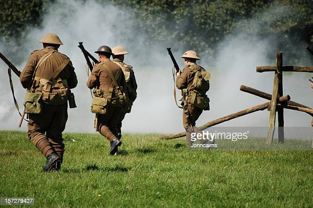 attack formation. - world war i stock photos and pictures