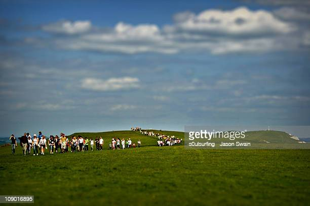 attack of the miniature lomo walkers - alum bay stock pictures, royalty-free photos & images