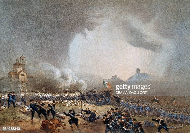 Attack of the Piedmontese at Madonna della Scoperta Battle of Solferino June 24 by Carlo Bossoli Second Italian War of Independence Italy 19th...