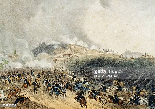 Attack on Saint Martin by the Piedmontese troops Battle of Solferino June 24 drawing by Carlo Bossoli lithograph by Carlo Perrin from Album of the...