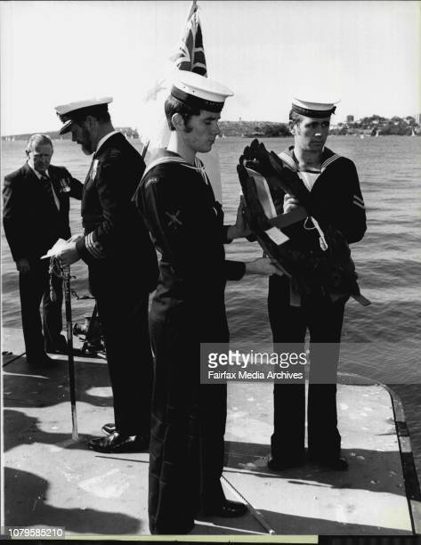 Attack On Sydney Harbour Remembered Able Seaman Michael Blanks and AB Gregory Kelly cast the wreath into the HarbourNavy personnel who died during...