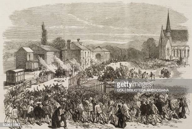 Attack on the British soldiers at the railway station the riot at Mold Flintshire United Kingdom illustration from the magazine The Illustrated...
