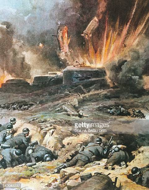 Attack on the Maginot Line in France Illustrator Achille Beltrame from La Domenica del Corriere 1940