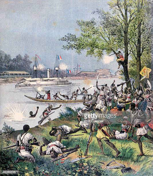 Attack on the Villagers of Dahomey by the French 1892 A print from the Le Petit Journal 20th August 1892