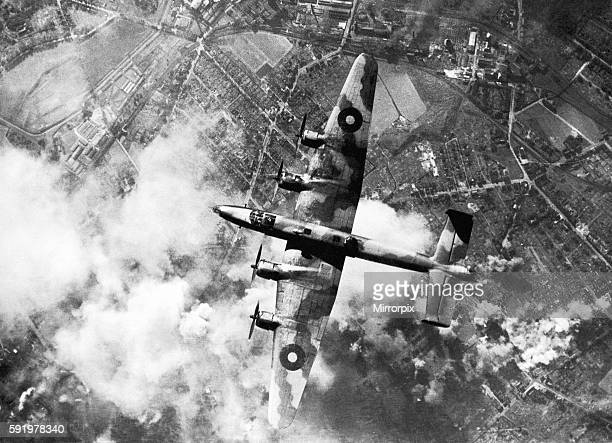 RAF Attack Synthetic oil plant in Ruhr A Halifax bomber of RAF Bomber command fly's over the synthetic plant during a daylight attack The plant...