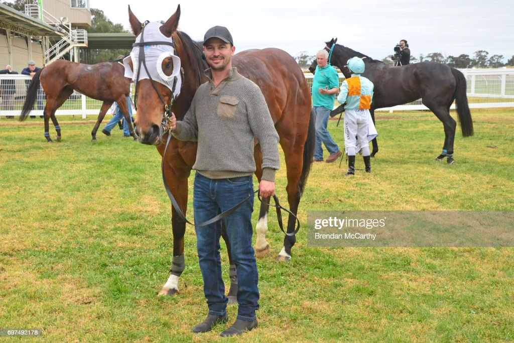 Attack the Line and Brent Stanley after winning the Mogas Regional BM58 Handicap at Donald Racecourse on June 19, 2017 in Donald, Australia.