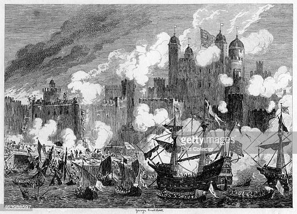 Attack upon Saint Thomas's Tower by the Duke of Suffolk 1554 An exaggerated depiction of fighting at the Tower of London during the rebellion led by...