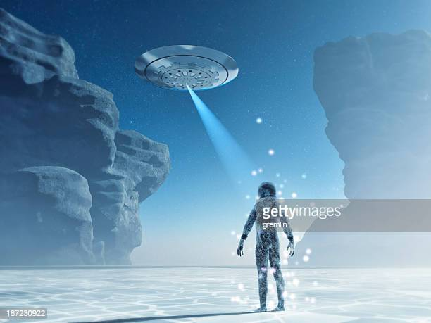 UFO attacking astronaut on distant cold planet