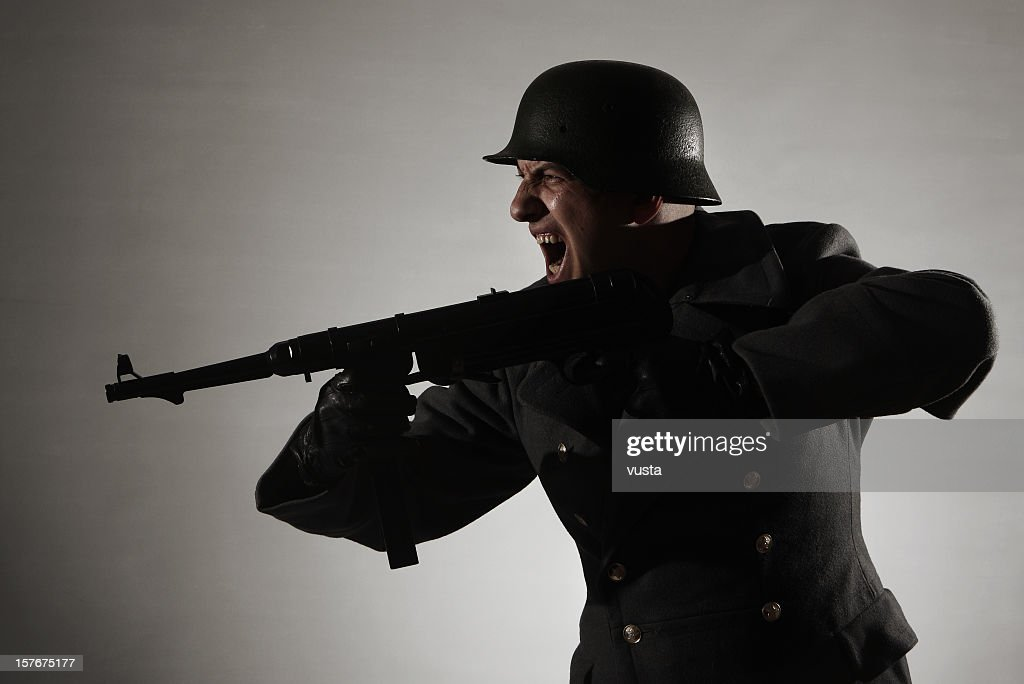 attacking german soldier : Stock Photo