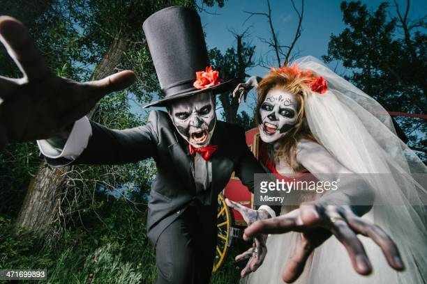 attacking horror wedding couple - monster fictional character stock pictures, royalty-free photos & images