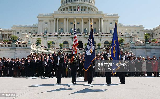 ATTACKSThe US Capitol Police Color Guard presents the colors during the ceremony on the West Front of the US Capitol for the victims of the terrorist...
