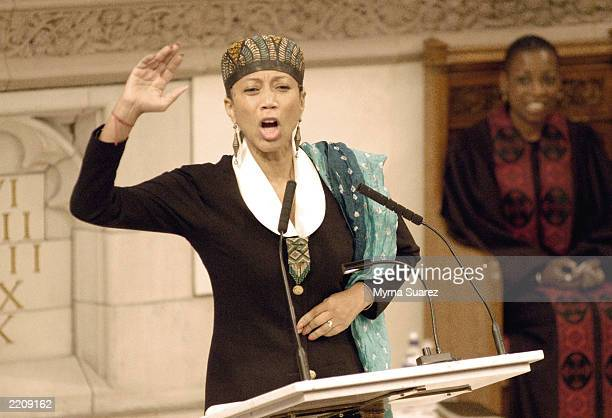 Attallah Shabaaz daughter of Malcom X and Betty Shabaaz gestures as she speaks at an official memorial honoring her mother at the Abyssinian Baptist...