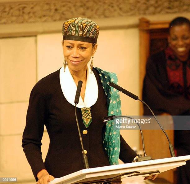 R Attallah Shabaaz daughter of Malcom X and Betty Shabaaz speaks at an official memorial honoring the late Jazz singer Nina Simone at the Abyssinian...