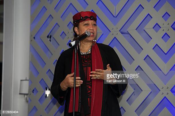 Attallah Shabazz speaks at the ICON MANN's 4th Annual Power 50 Dinner at Mr C Beverly Hills on February 26 2016 in Beverly Hills California