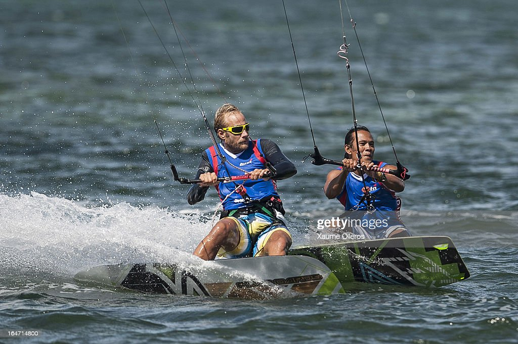 Atte Kappel of Sweden (L) and Narapichit Pudla of Thailand (R) compete during day two of the KTA at Boracay Island on March 27, 2013 in Makati, Philippines.