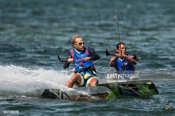 Atte Kappel of Sweden and Narapichit Pudla of Thailand compete during day two of the KTA at Boracay Island on March 27 2013 in Makati Philippines