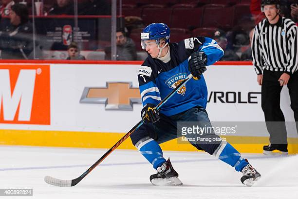 Atte Makinen of Team Finland skates during the 2015 IIHF World Junior Hockey Championship game against Team Slovakia at the Bell Centre on December...