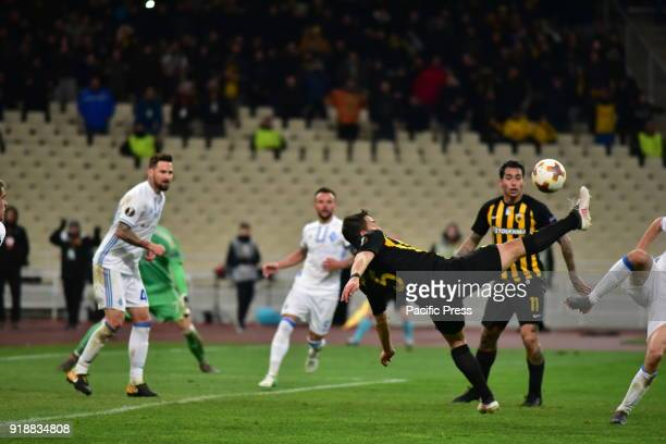 OACA 'SPIROS LOUIS' ATHENS ATTIKI GREECE Attempt of Vasileios Lampropoulos of AEK during an attack of his team After an exciting football match AEK...