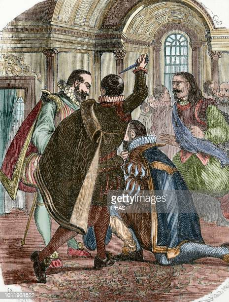 Attempt to assassinate king Henry IV of France by Jean Chatel on December 1594. Engraving by Chamb Aron, 1851. Colored.