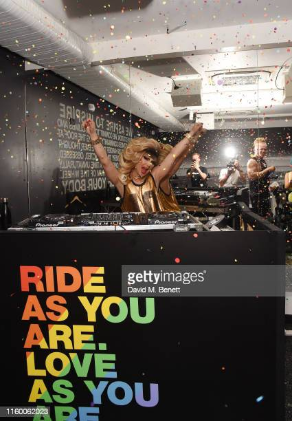 attend as Jodie Harsh Queen supreme of London's nightlife kicks off Pride month at SoulCycle London with a DJ set ride on July 04 2019 in London...