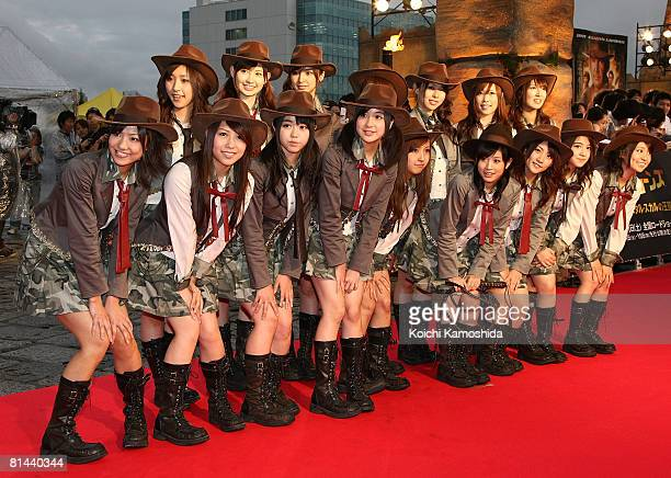 AKB48 attend 'Indiana Jones and the Kingdom of the Crystal Skull' Japan Premiere at the National Yoyogi Gymnasium on June 5 2008 in Tokyo Japan The...