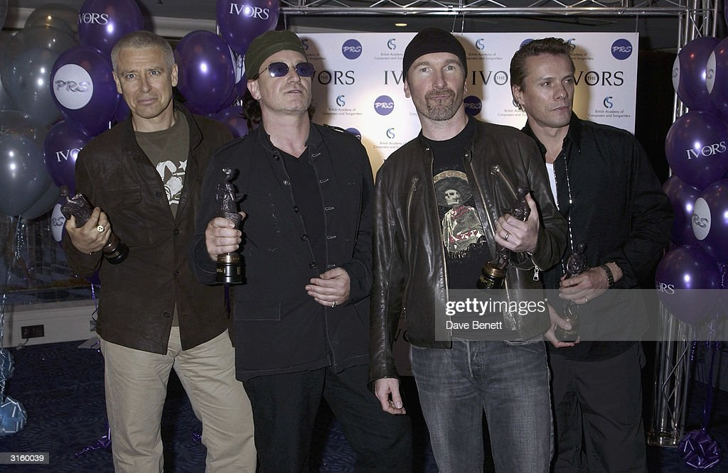 U2 attend The 2003 Ivor Novello Awards at The Grovesnor House Hotel on May 23, 2003 in London.