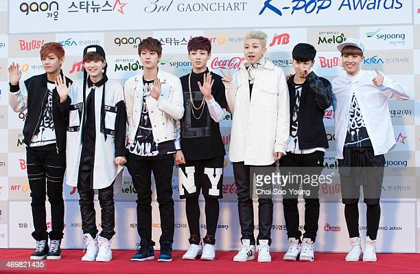 BTS attend the Gaon Chart Kpop Awards at Olympic Park on February 12 2014 in Seoul South Korea