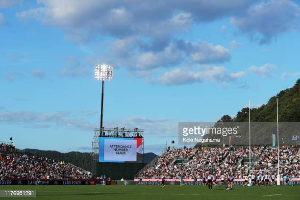 Attendance is announced during the Rugby World Cup 2019 Group D game between Fiji and Uruguay at Kamaishi Recovery Memorial Stadium on September 25...
