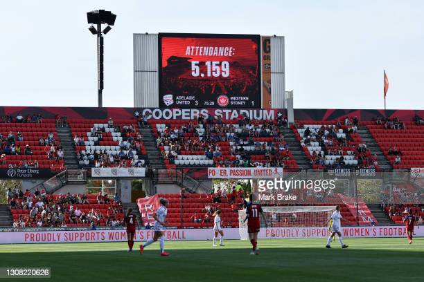 Attendance on the scoreboard during the round 13 W-League match between Adelaide United and the Western Sydney Wanderers at Coopers Stadium, on March...