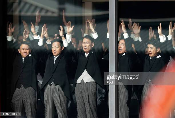 Attendants chant 'Banzai' during the enthronement ceremony after Japanese Emperor Naruhito proclaimed his enthronement at the Imperial Palace on...